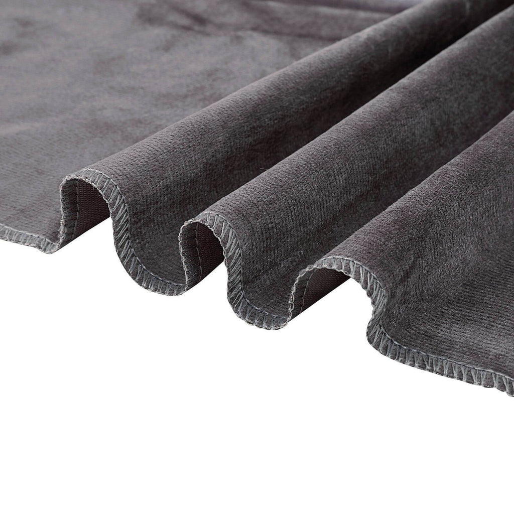 8Ft H x 8Ft W Charcoal Gray Premium Velvet Backdrop Curtain Panel Drape | chaircoverfactory