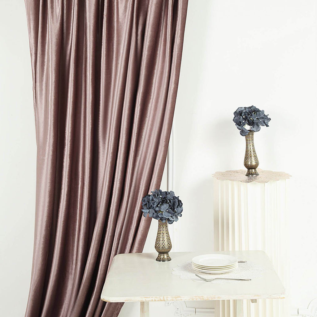 8Ft H x 8Ft W Dusty Rose Premium Velvet Backdrop Curtain Panel Drape | chaircoverfactory