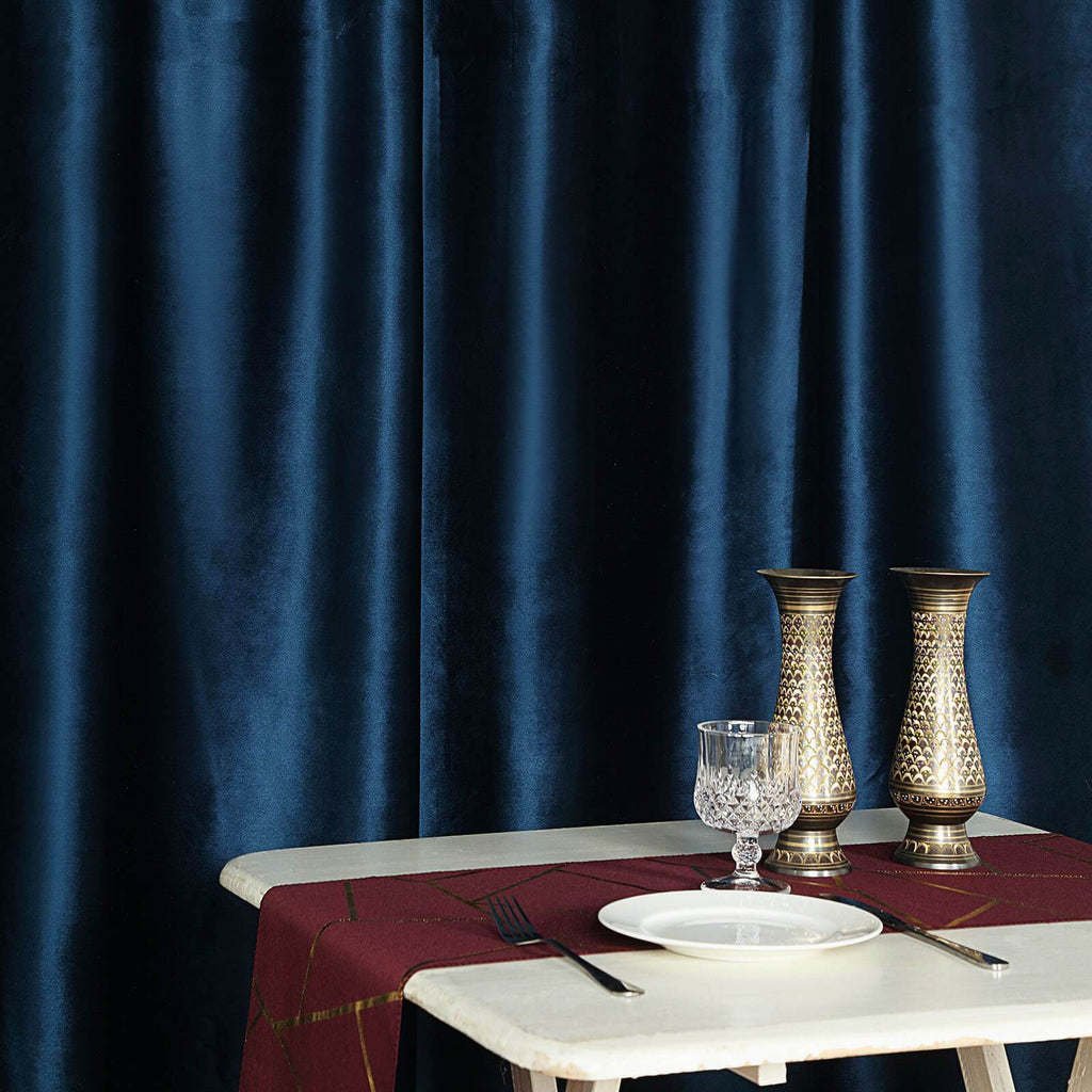 8Ft H x 8Ft W Navy Blue Premium Velvet Backdrop Curtain Panel Drape | chaircoverfactory