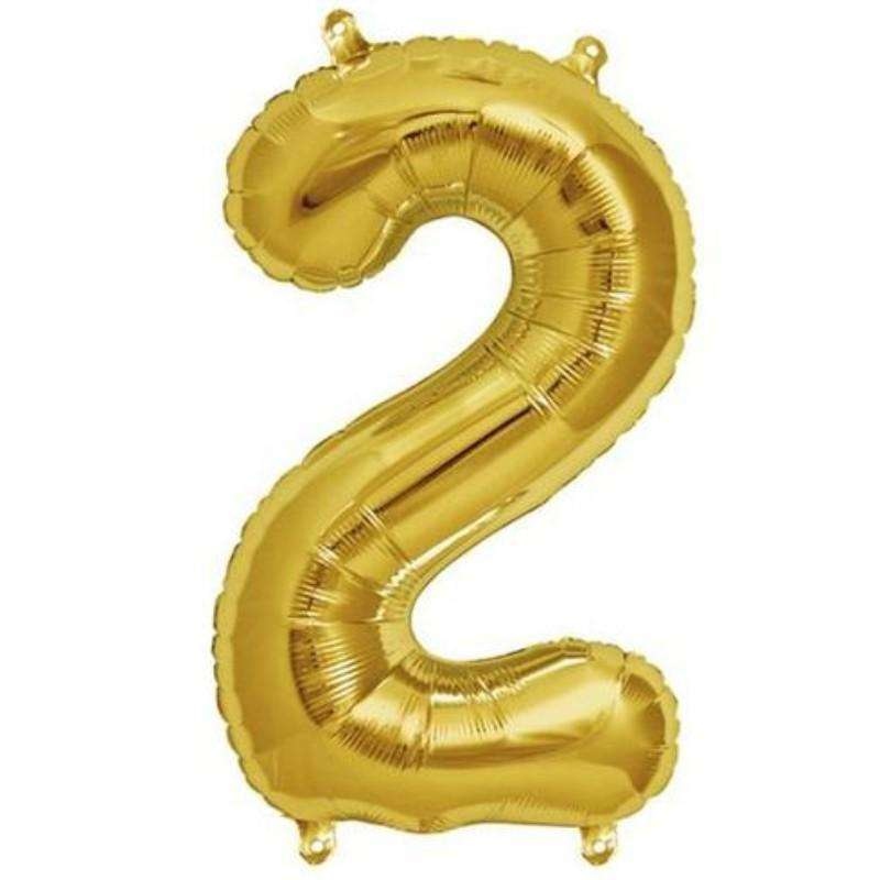 "16"" Shiny Gold Mylar Foil Number Helium Balloons Birthday Party - 2"