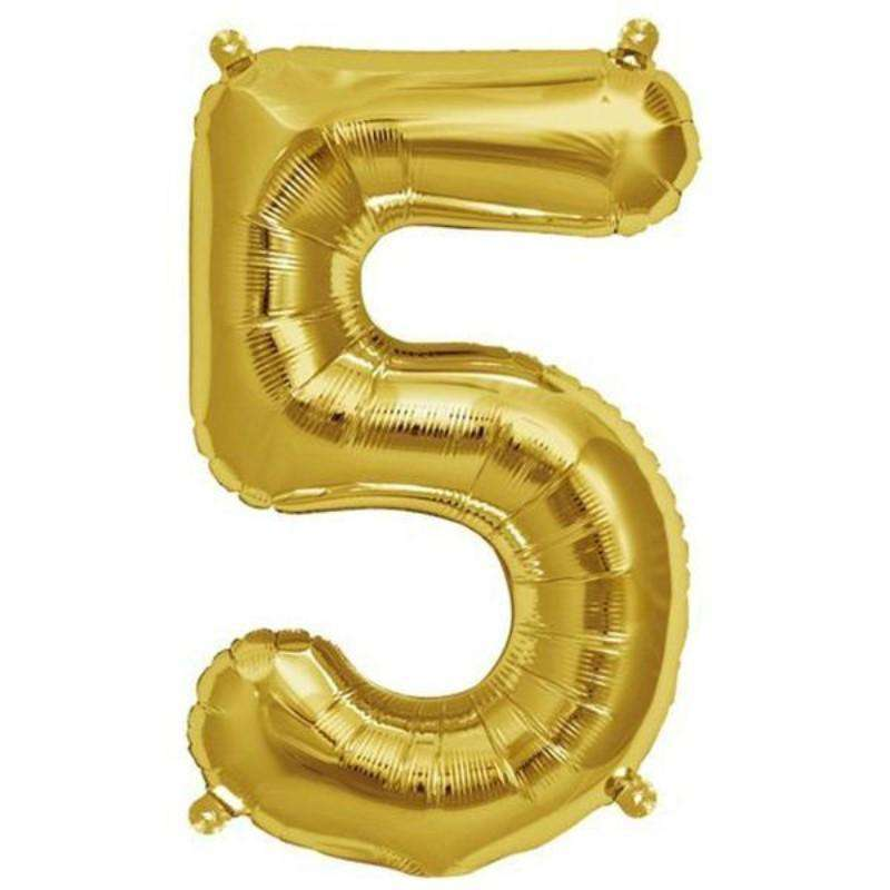 "16"" Shiny Gold Mylar Foil Number Helium Balloons Birthday Party - 5"