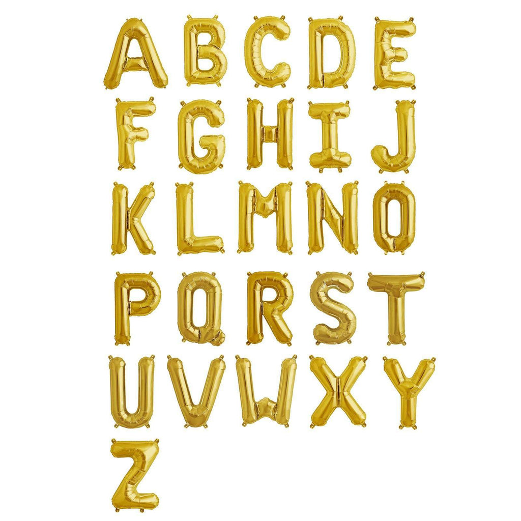 "16"" Shiny Gold Mylar Foil Letter Helium Balloons Birthday Party - W"