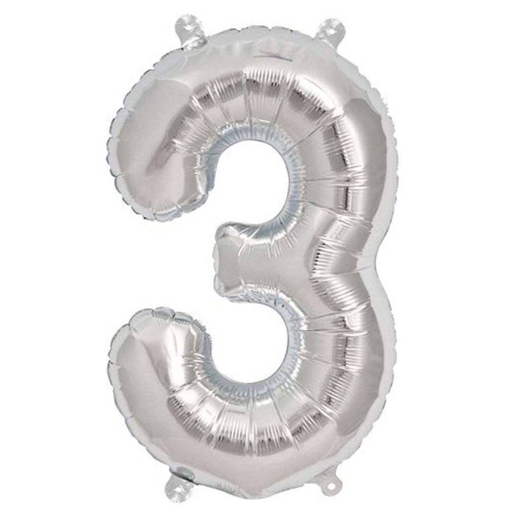 "16"" Silver Mylar Foil Number Helium Balloons Birthday Party - 3"