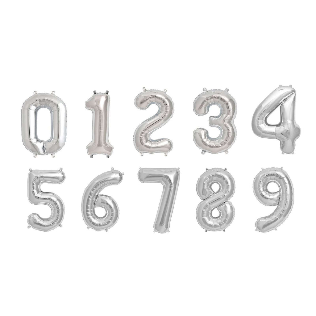 "16"" Silver Mylar Foil Number Helium Balloons Birthday Party - 7"