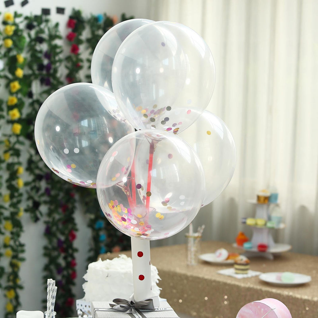 "10 Pack | 12"" Pink Confetti Filled Clear Round Latex Helium Balloons"