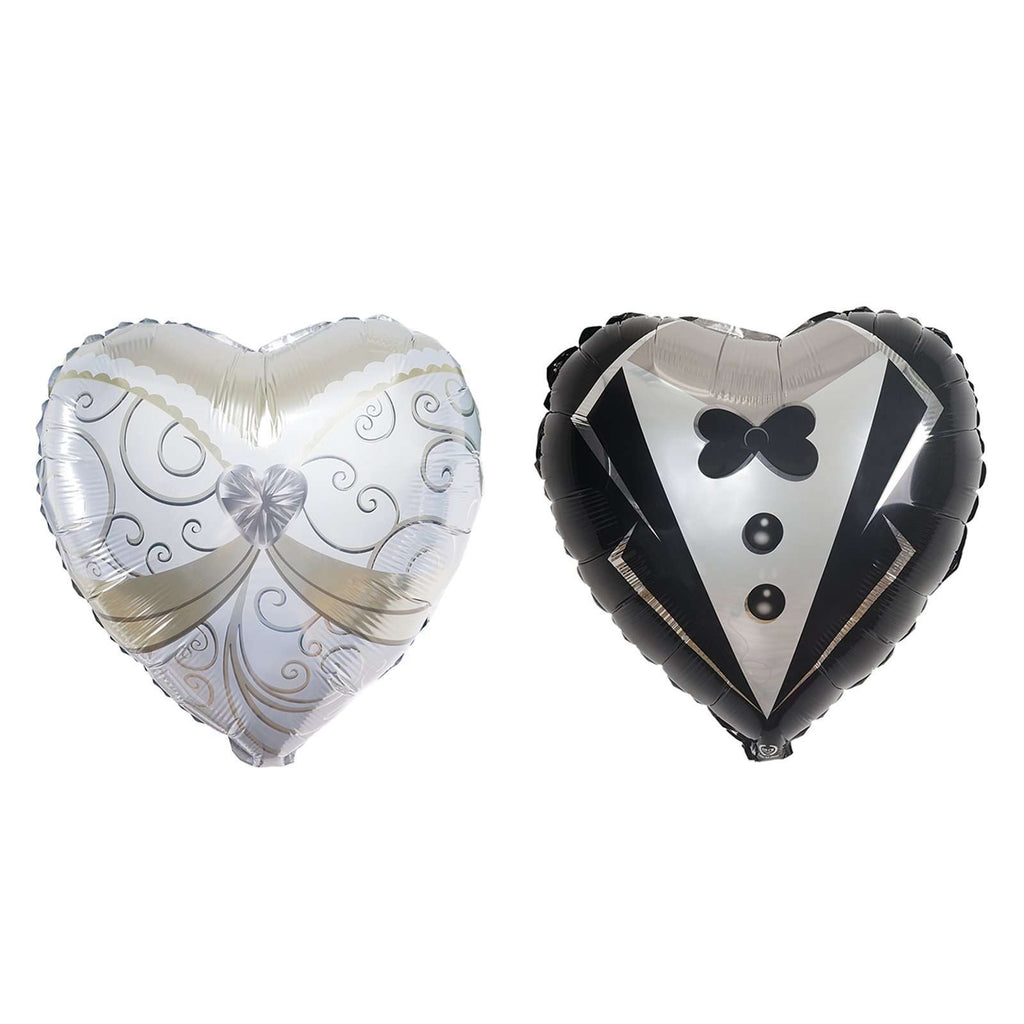 "14"" Heart Shape Wedding Groom Tuxedo and Bride Dress Air Helium Mylar Foil Balloons Set"