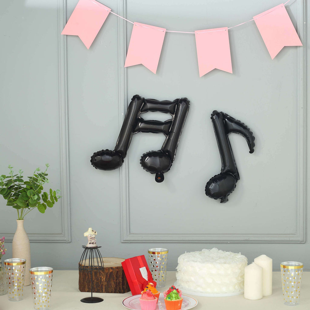 6 Pack | Black | 16th & 8th Musical Notes Foil Mylar Balloons