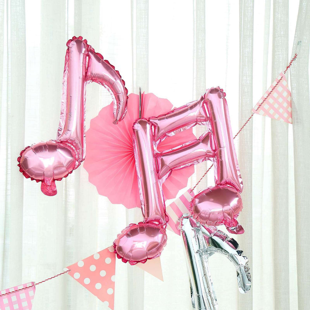 6 Pack | Rose Gold | 16th & 8th Musical Notes Foil Mylar Balloons