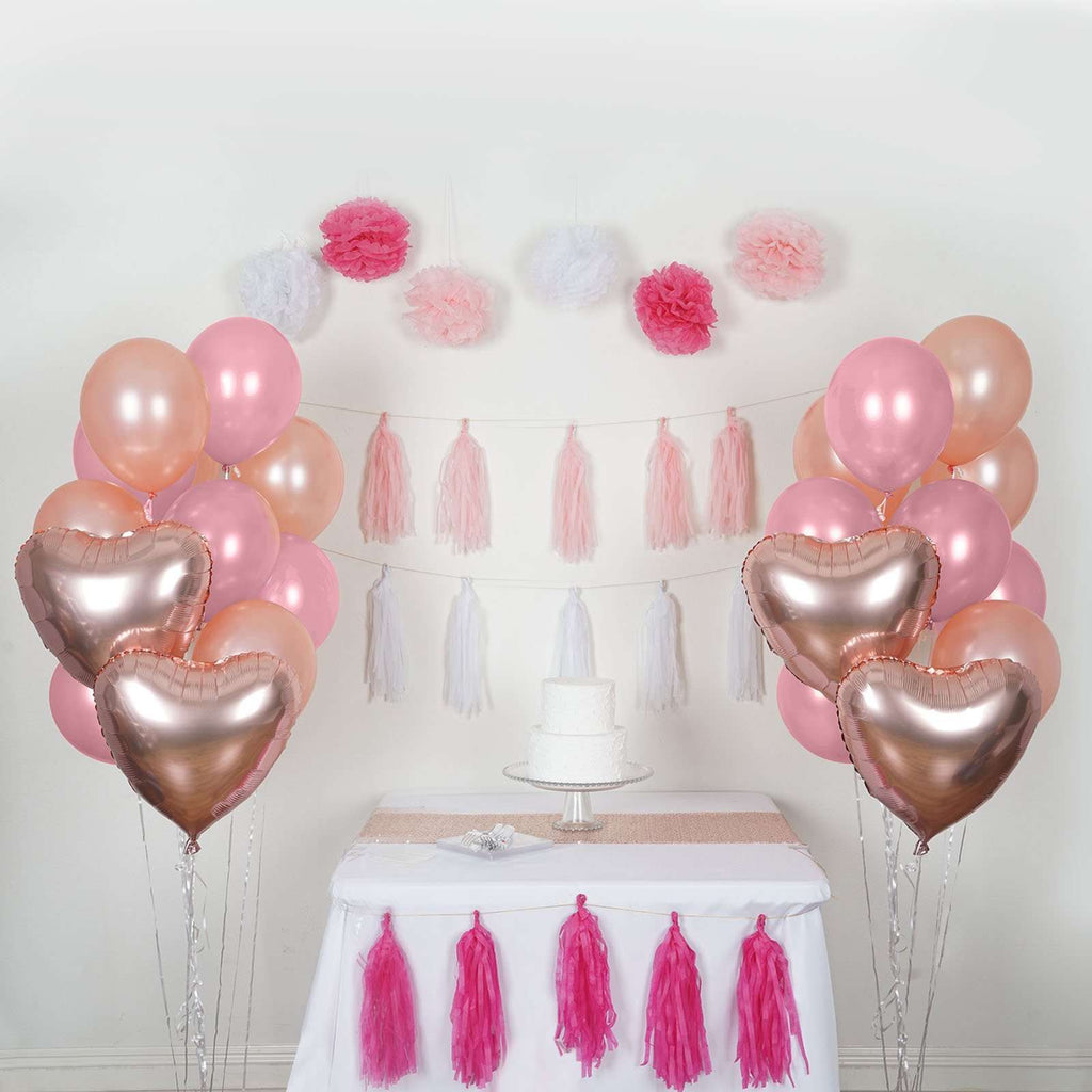 47 Pcs Pink/White Wedding Party Room Decoration Kit with Foil Latex Balloon Pom Tassels