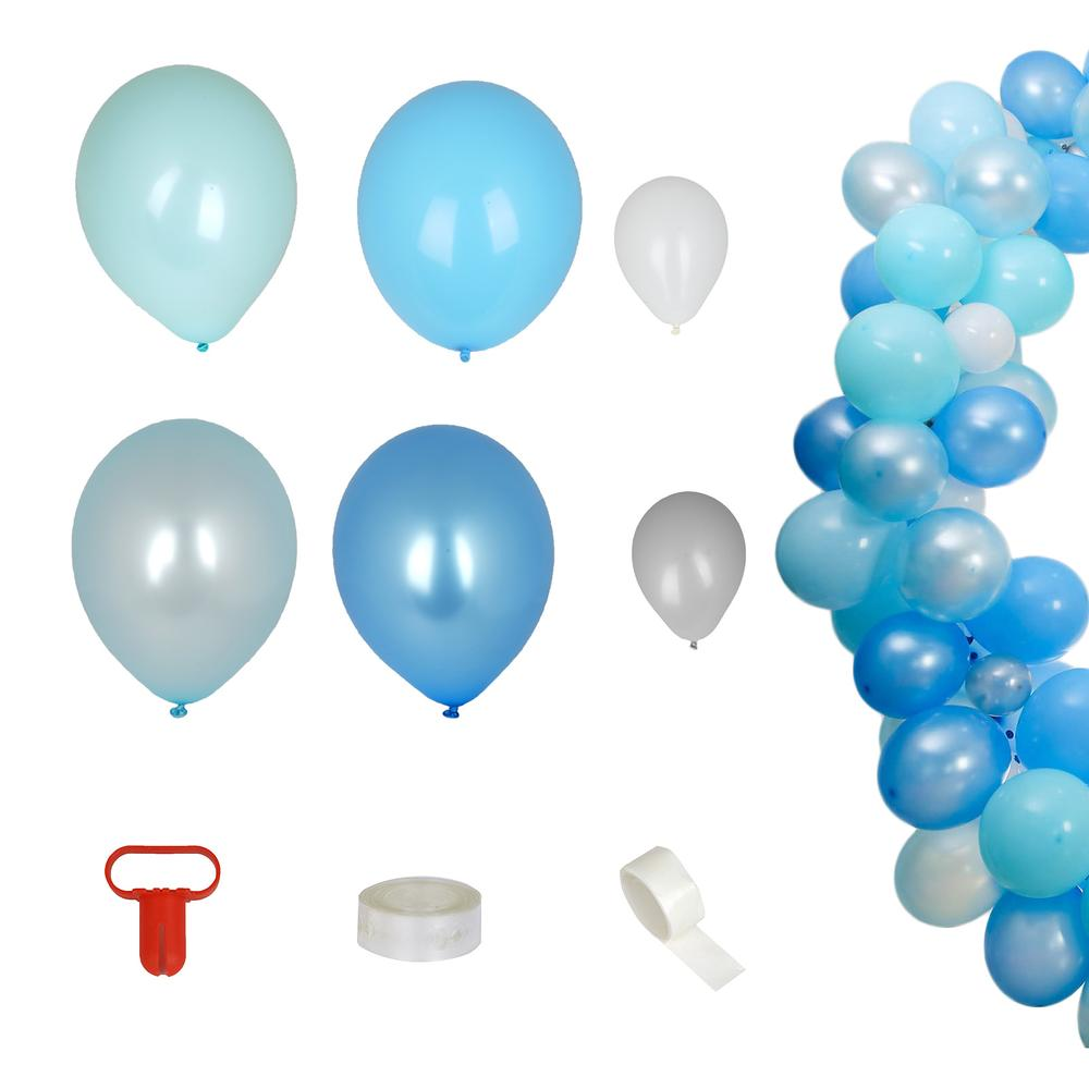 100 Pack DIY Balloon Garland Kit | Balloon Arch Party Decorations - Blue | Silver | White