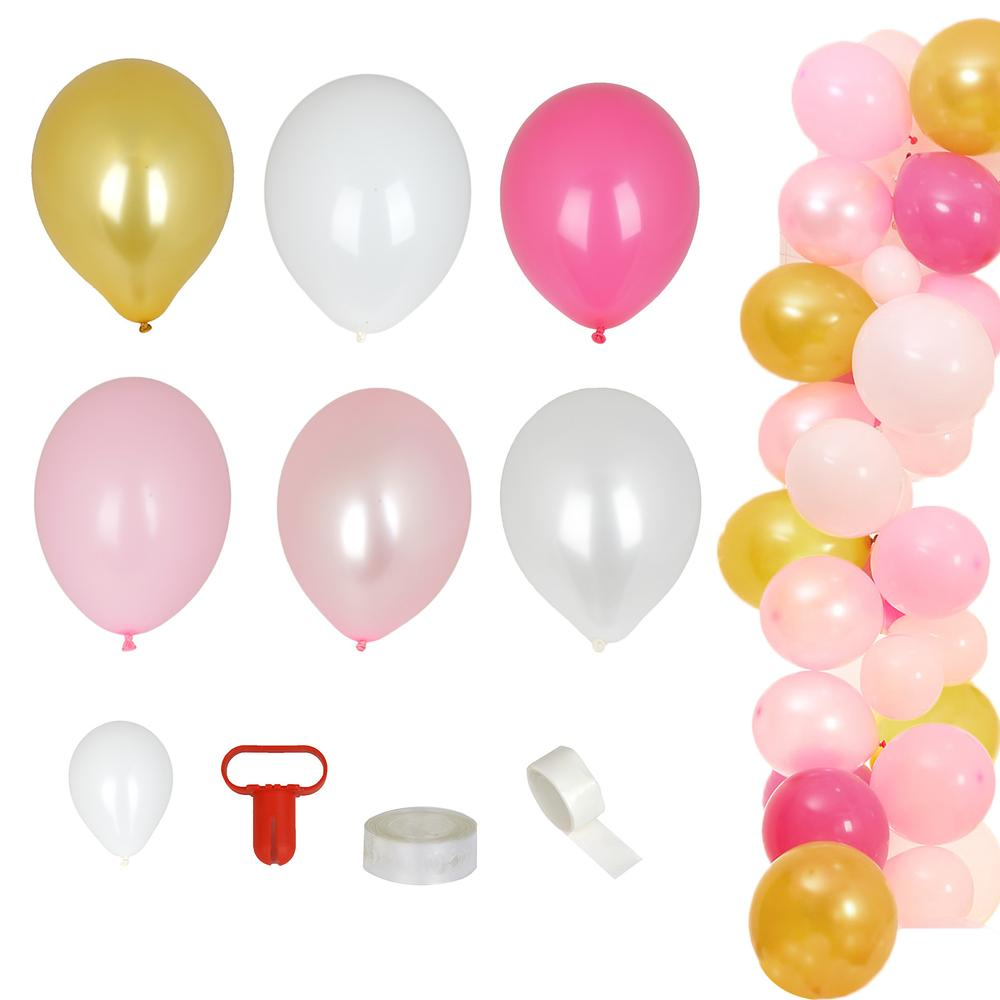 105 Pack DIY Balloon Garland Kit | Balloon Arch Party Decorations - Gold | Pink | White