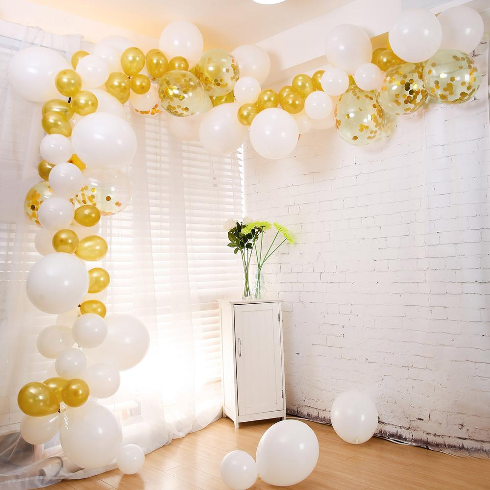 100 Pack DIY Balloon Garland Kit | Balloon Arch Party Decorations - Gold | White | Silver | Clear