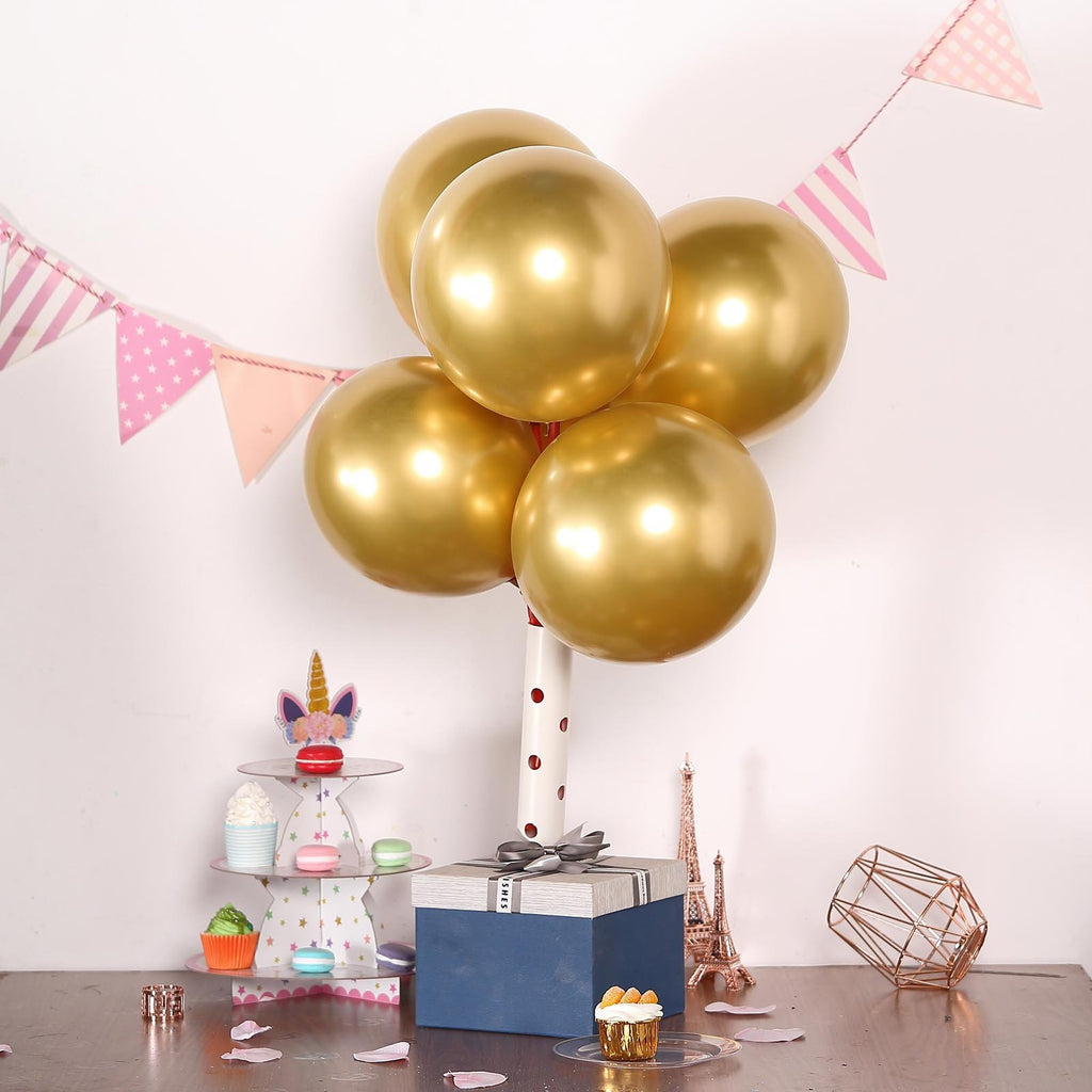 "25 Pack | 12"" Gold Chrome Metallic Latex Helium Balloon"