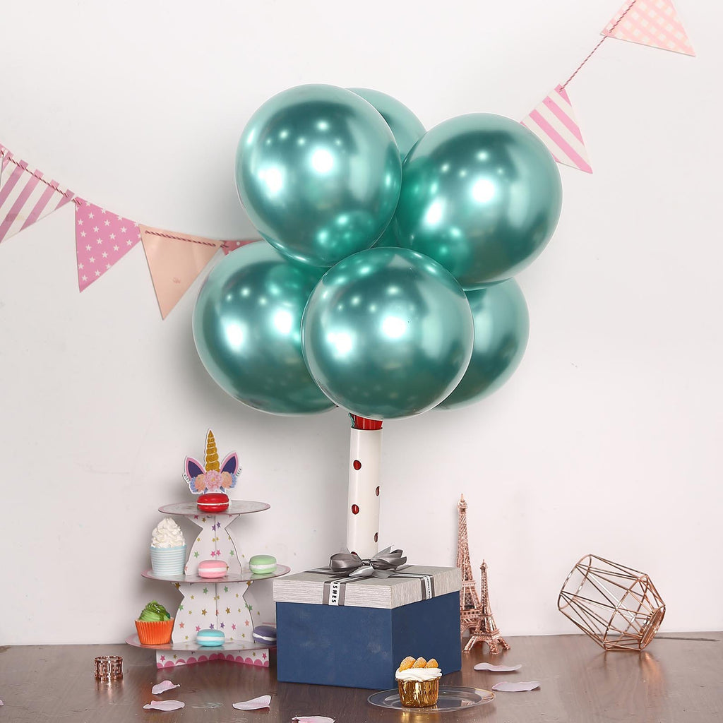 "25 Pack | 12"" Green Chrome Metallic Latex Helium Balloon"