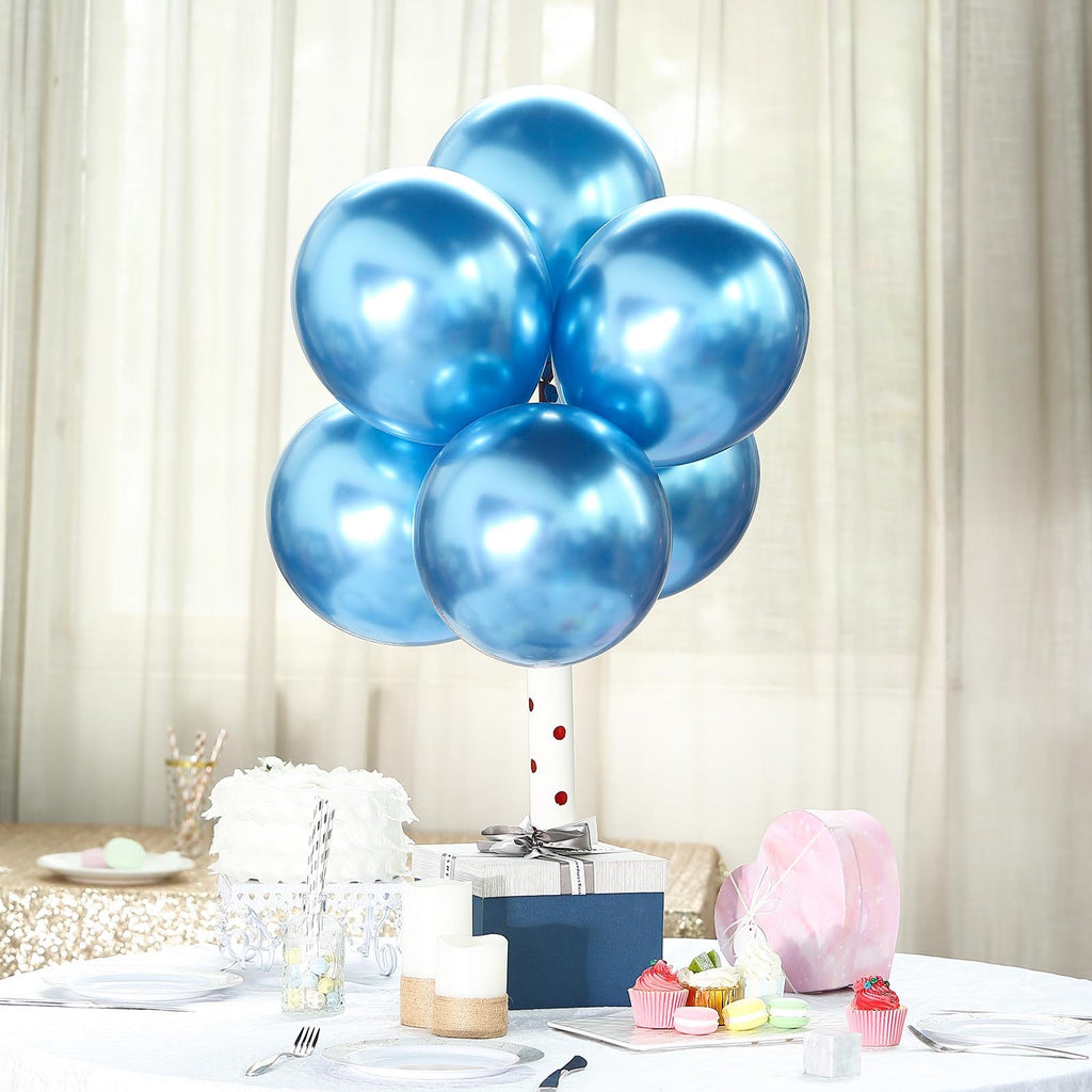 "25 Pack | 12"" Royal Blue Chrome Metallic Latex Helium Balloon"