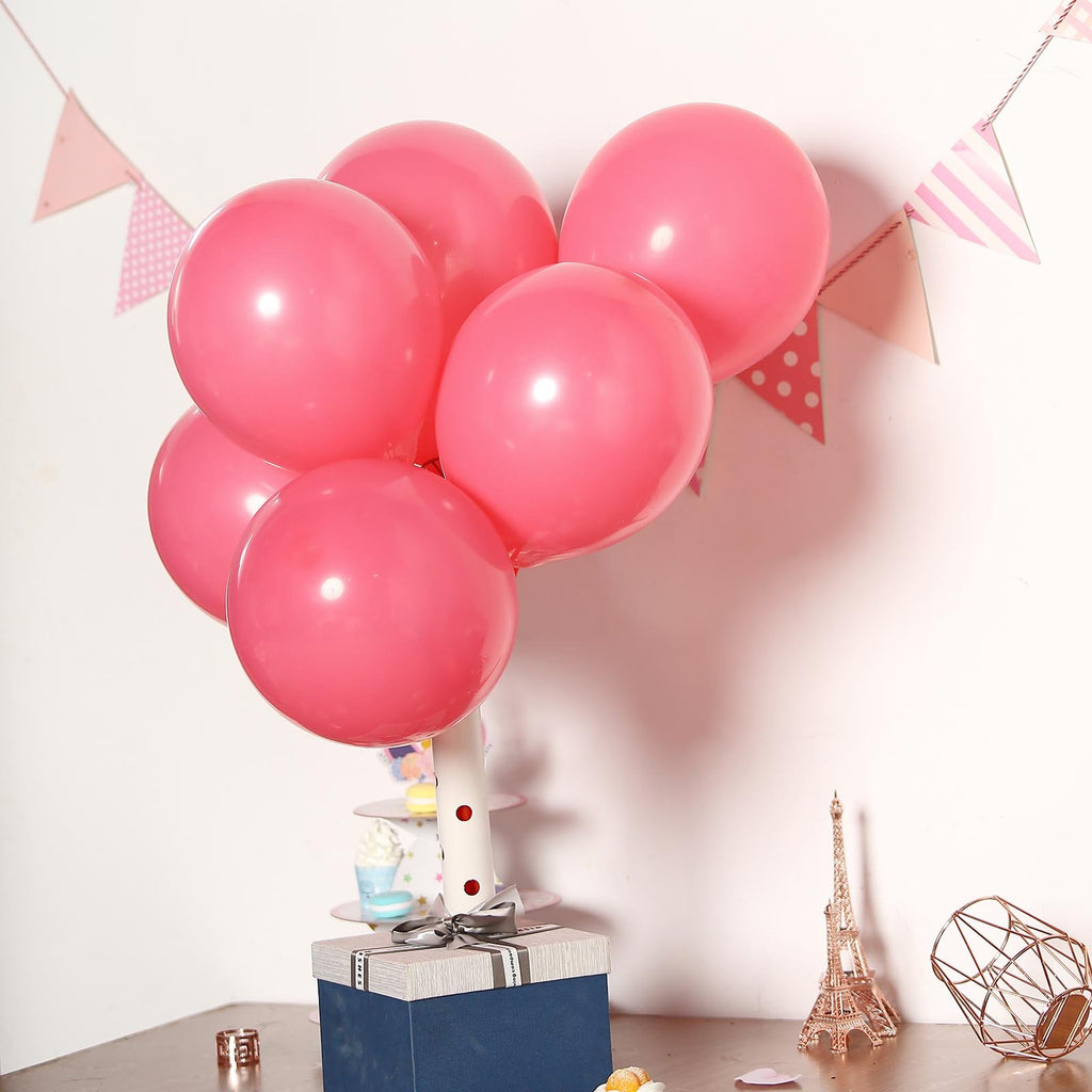 "25 Pack | 10"" Pastel Hot Pink Round Latex Helium Balloons 