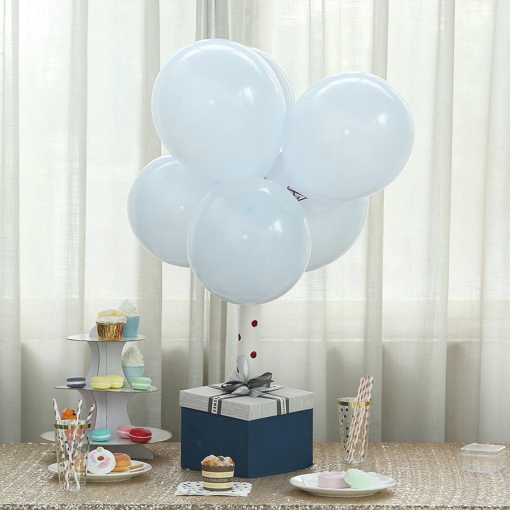 "25 Pack | 12"" Pastel Ice Blue Latex Helium Balloons 