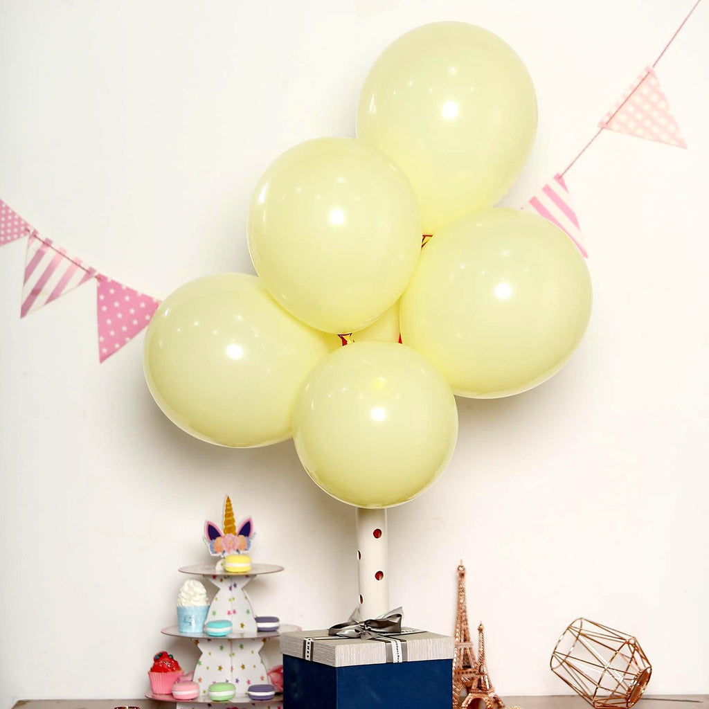 "25 Pack | 12"" Pastel Yellow Latex Helium Balloons 