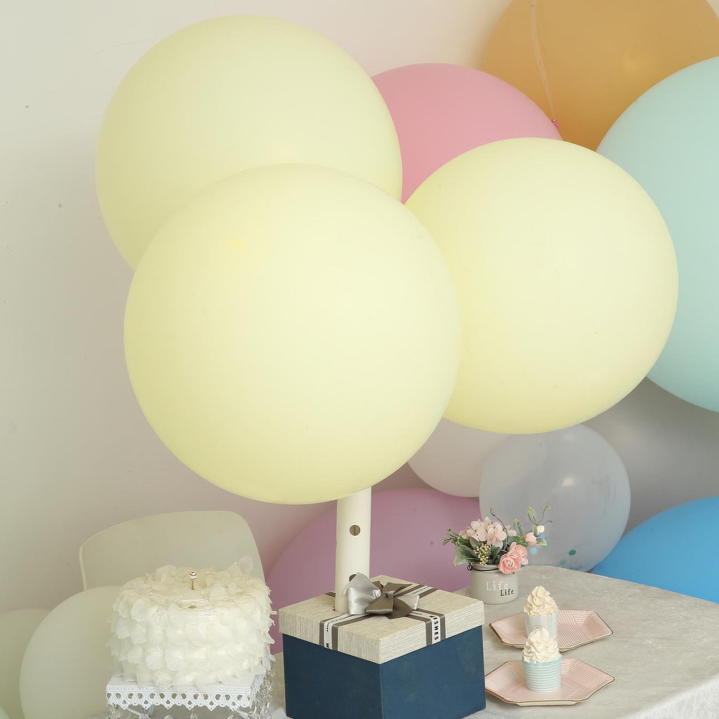 "10 Pack | 18"" Pastel Yellow Round Latex Balloons 