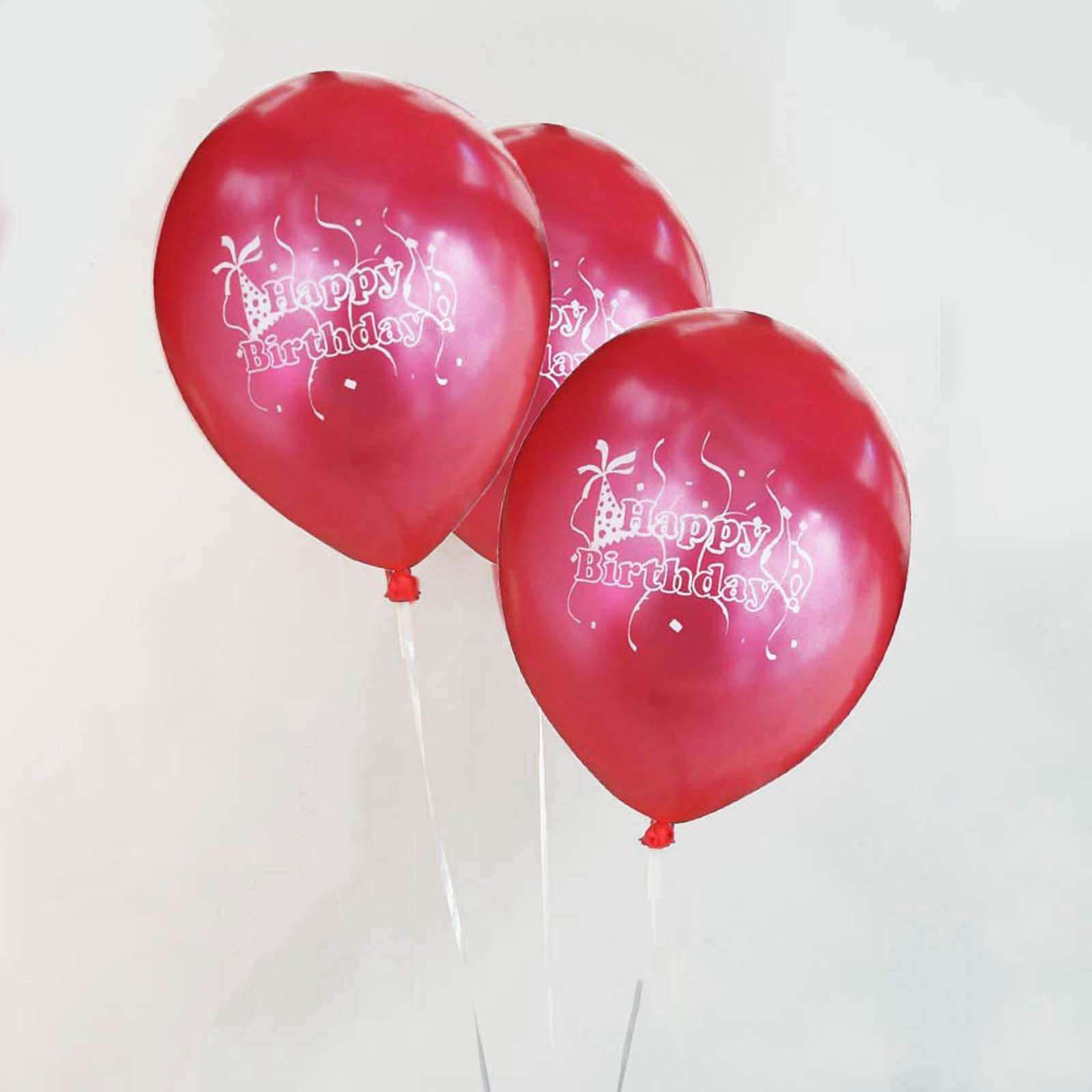 25 Pack 12 Red Metallic Latex Happy Birthday Balloons For Party ChairCoverFactory