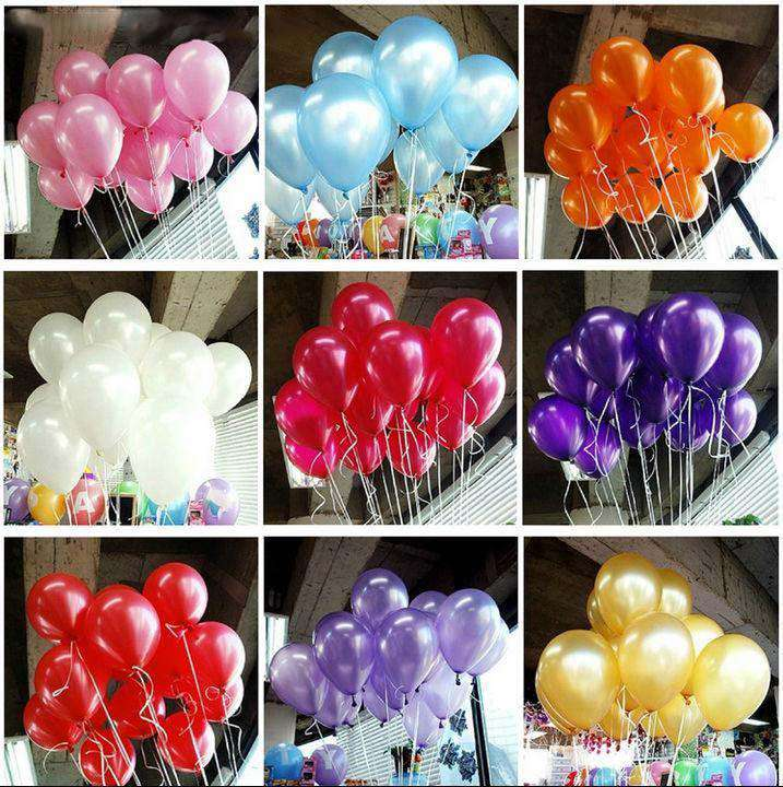 "25 Pack 12"" Assorted Colors Metallic Latex Water Air Helium Party Balloons"