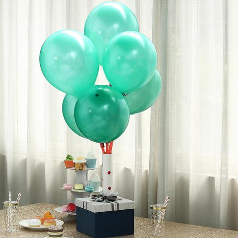 "25 Pack 12"" Turquoise Chrome Latex Water Air Helium Party Balloons"
