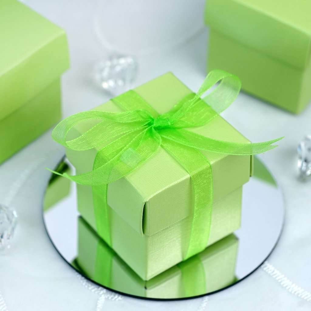 "100 Pack | Sage Green 2"" square 2 Pcs Favor Boxes"