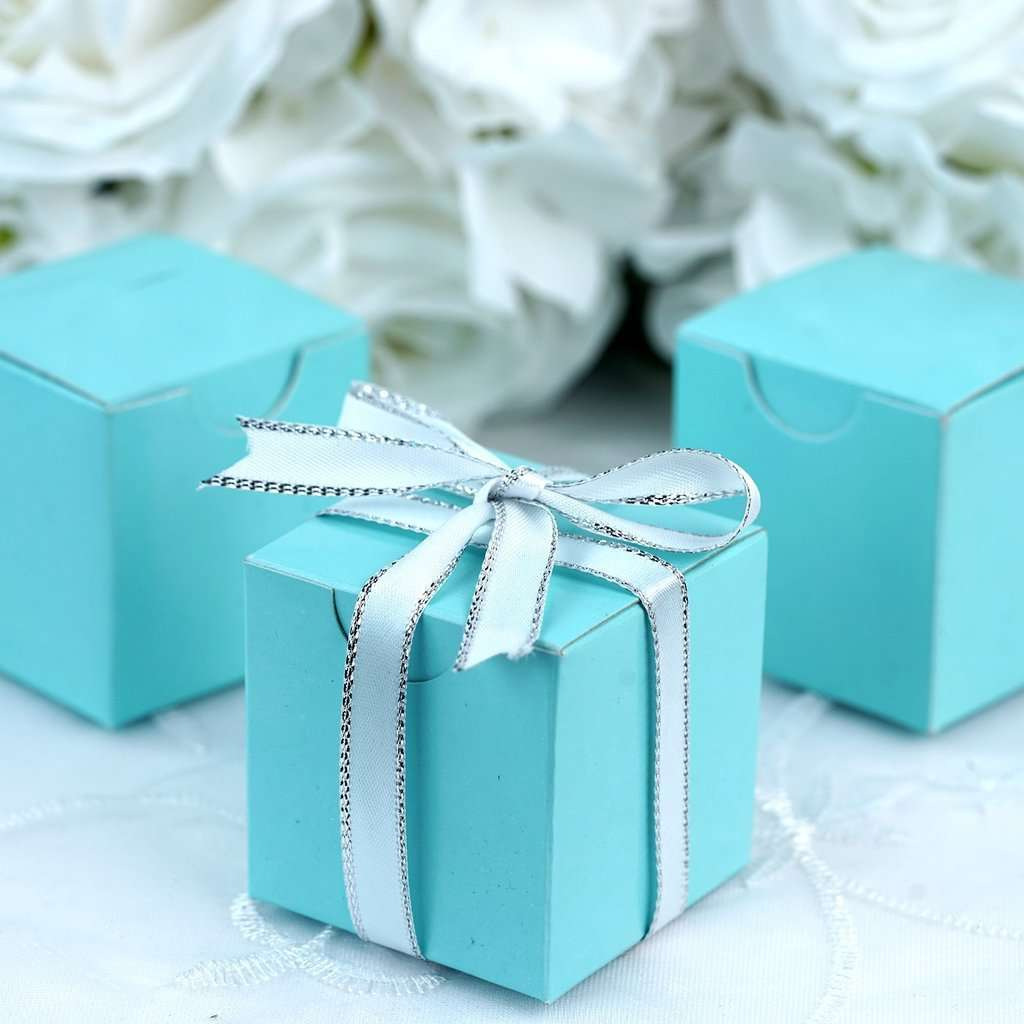 "100 PCS | 2"" Turquoise Square Favor Boxes"