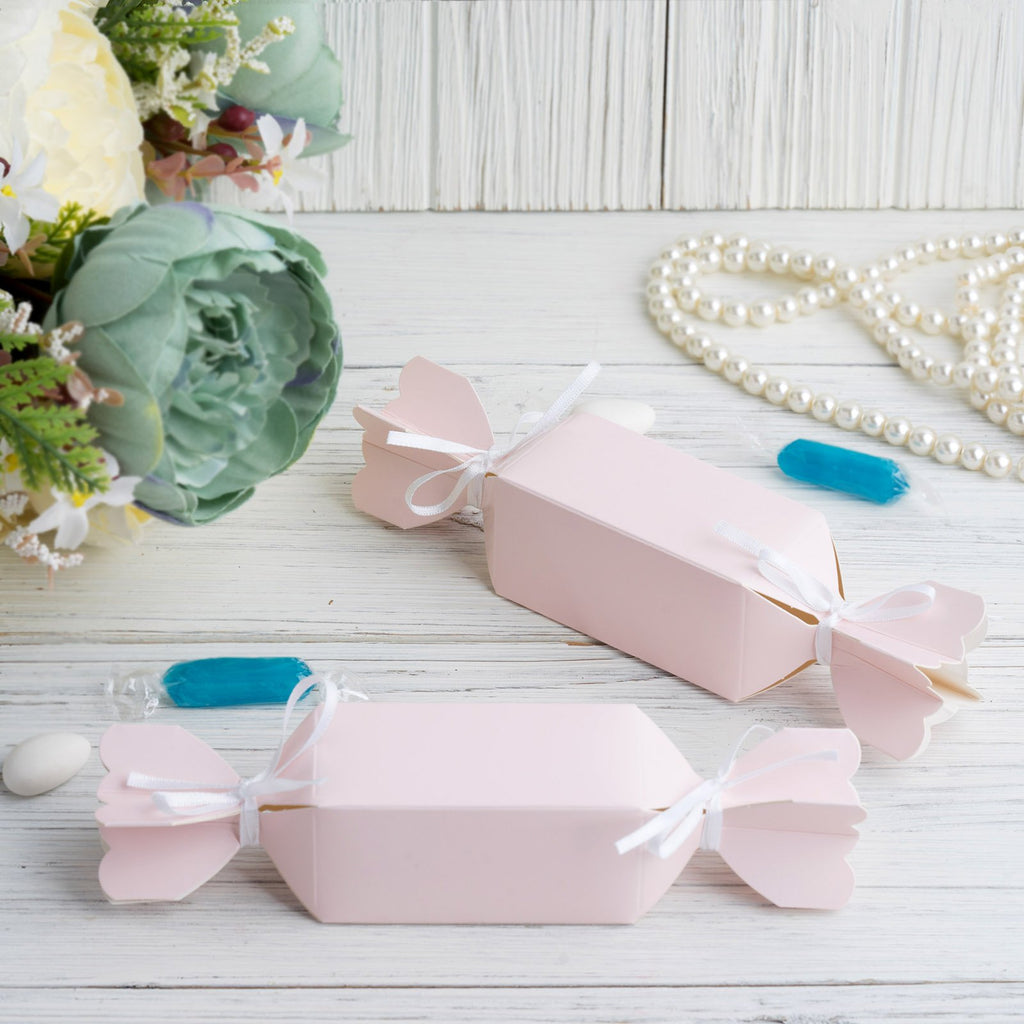 25 Pack | Candy Shape Favor Boxes with Satin Ribbons | Blush / Rose Gold Cardboard Wedding Gift Boxes