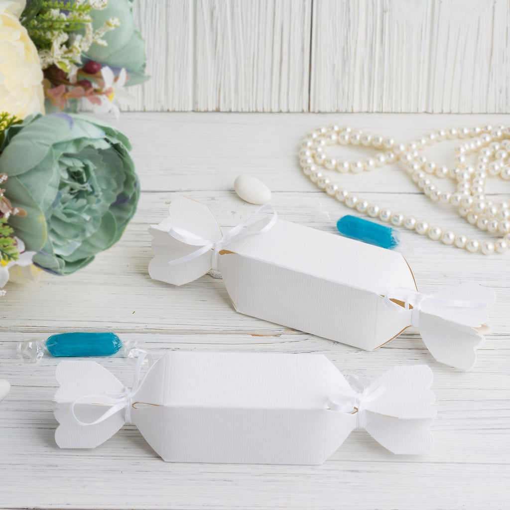 25 Pack | Candy Shape Favor Boxes with Satin Ribbons | White Cardboard Wedding Gift Boxes