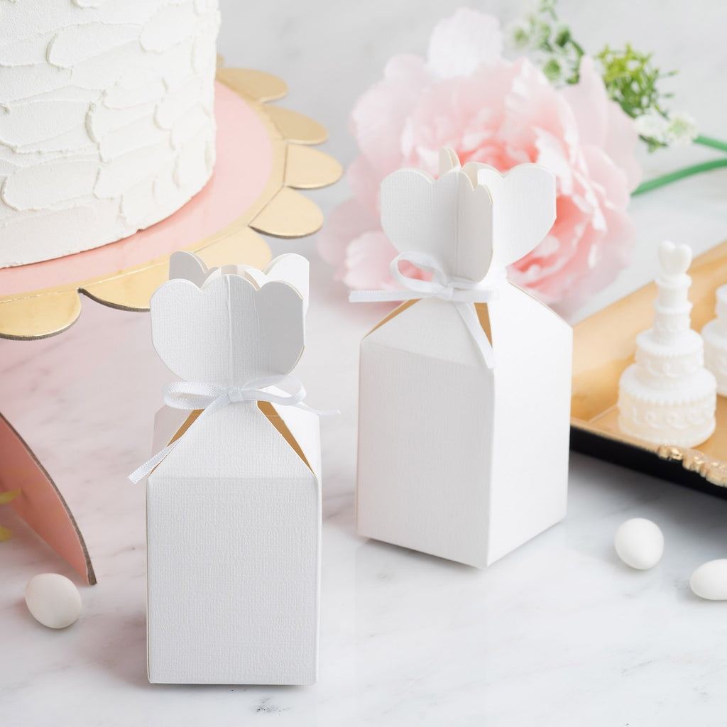 25 Pack | Vase Shape Favor Boxes with Satin Ribbons | White Cardboard Wedding Gift Boxes