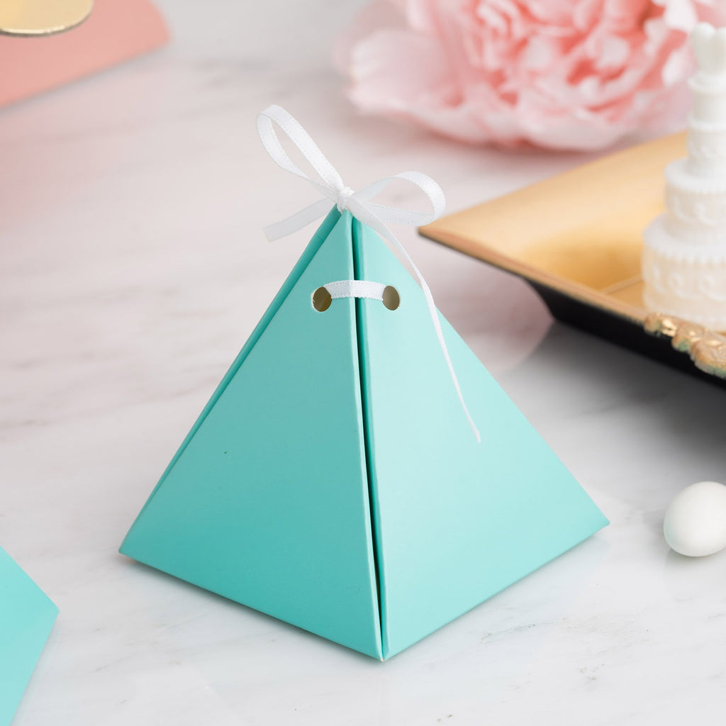 25 Pack | Turquoise Pyramid Party Favor Boxes with Satin Ribbons | Card Stock Wedding Gift Boxes