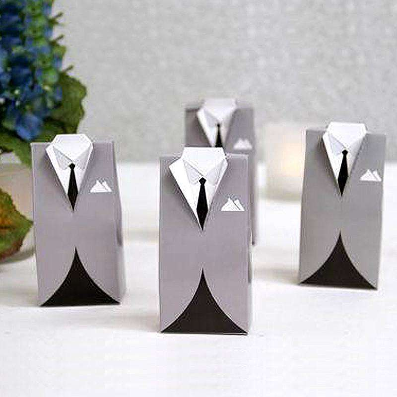 100 Pcs Silver Tuxedo Wedding Favor Boxes