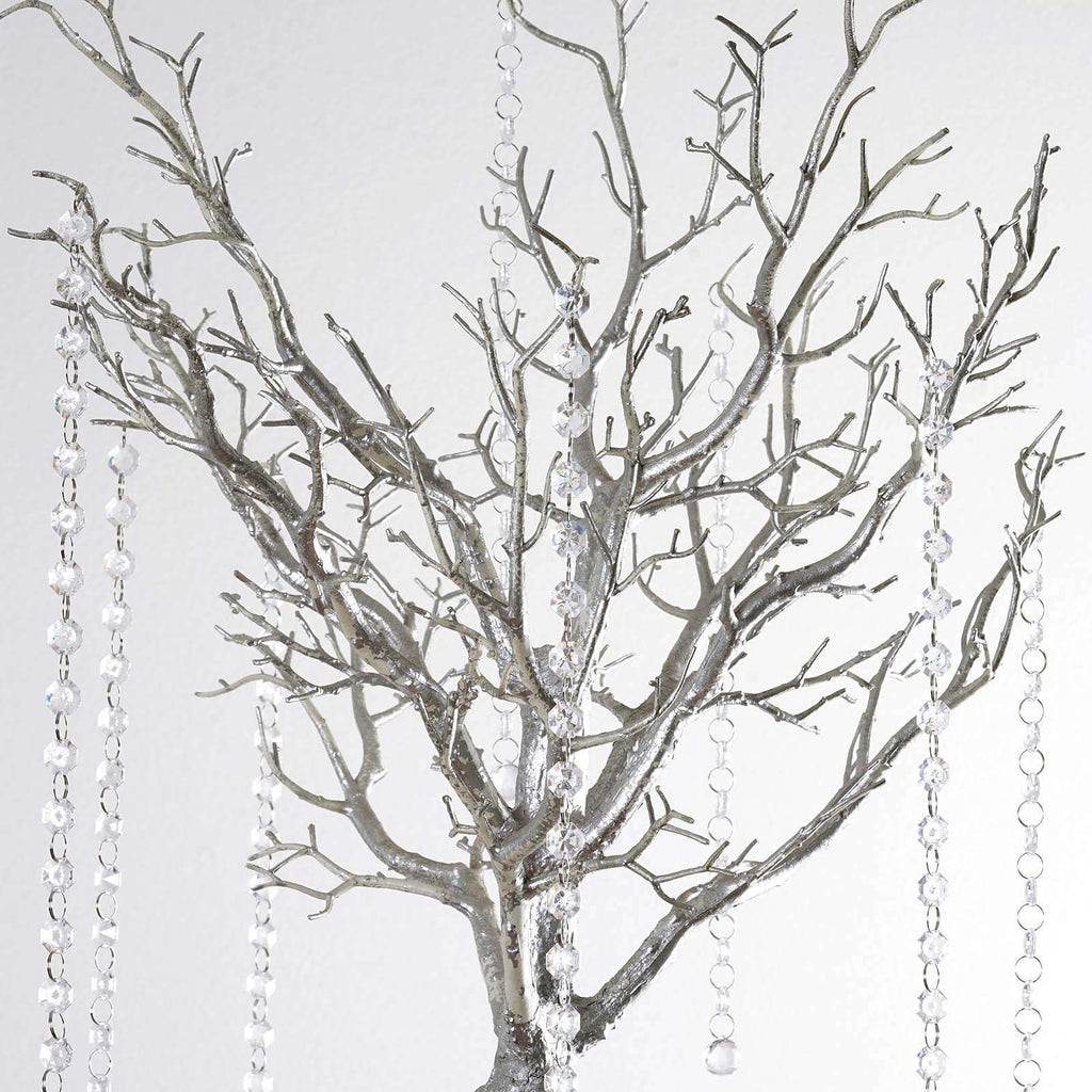 "36"" Glittered Manzanita SILVER Centerpiece For Wedding Party Event Table Top Decoration Tree + 8pcs Acrylic Chains"