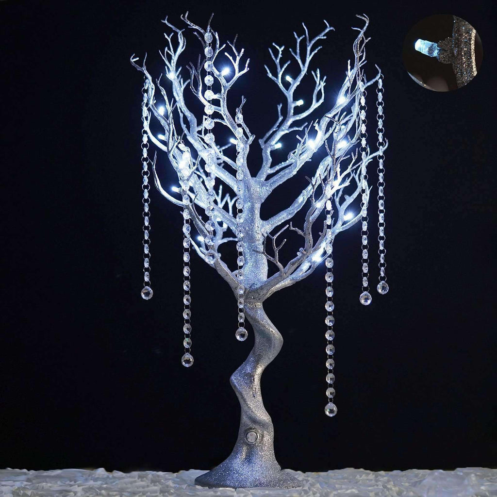 Battery Operated Glittered Manzanita Tree Silver Centerpiece For Wedding Party Event Table Top Decoration With LED Lights + 8pcs Acrylic Chains