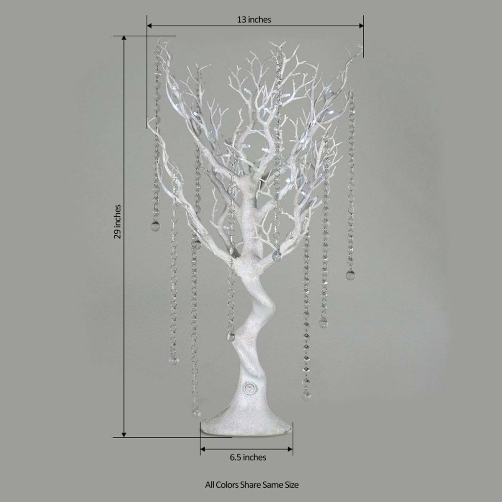 Battery Operated Glittered Manzanita Tree White Centerpiece For Wedding Party Event Table Top Decoration With LED Lights + 8pcs Acrylic Chains