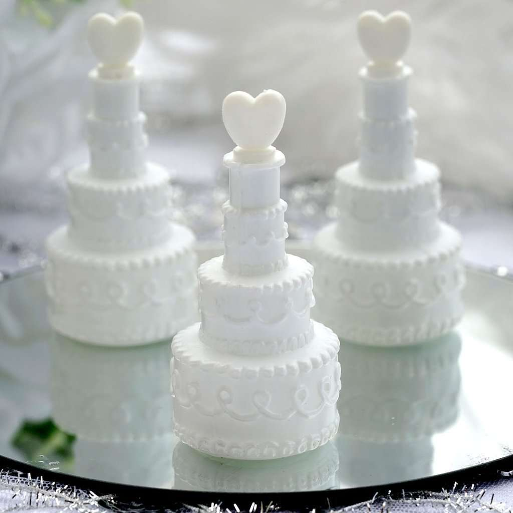 24 PCS White Cake Heart Bubbles Bridal Favor