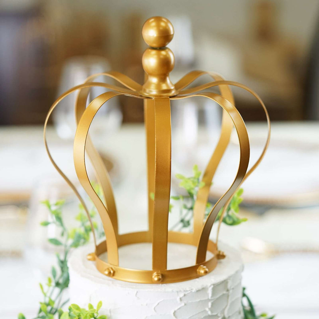 "9"" Gold Metal Royal Crown Cake Topper"