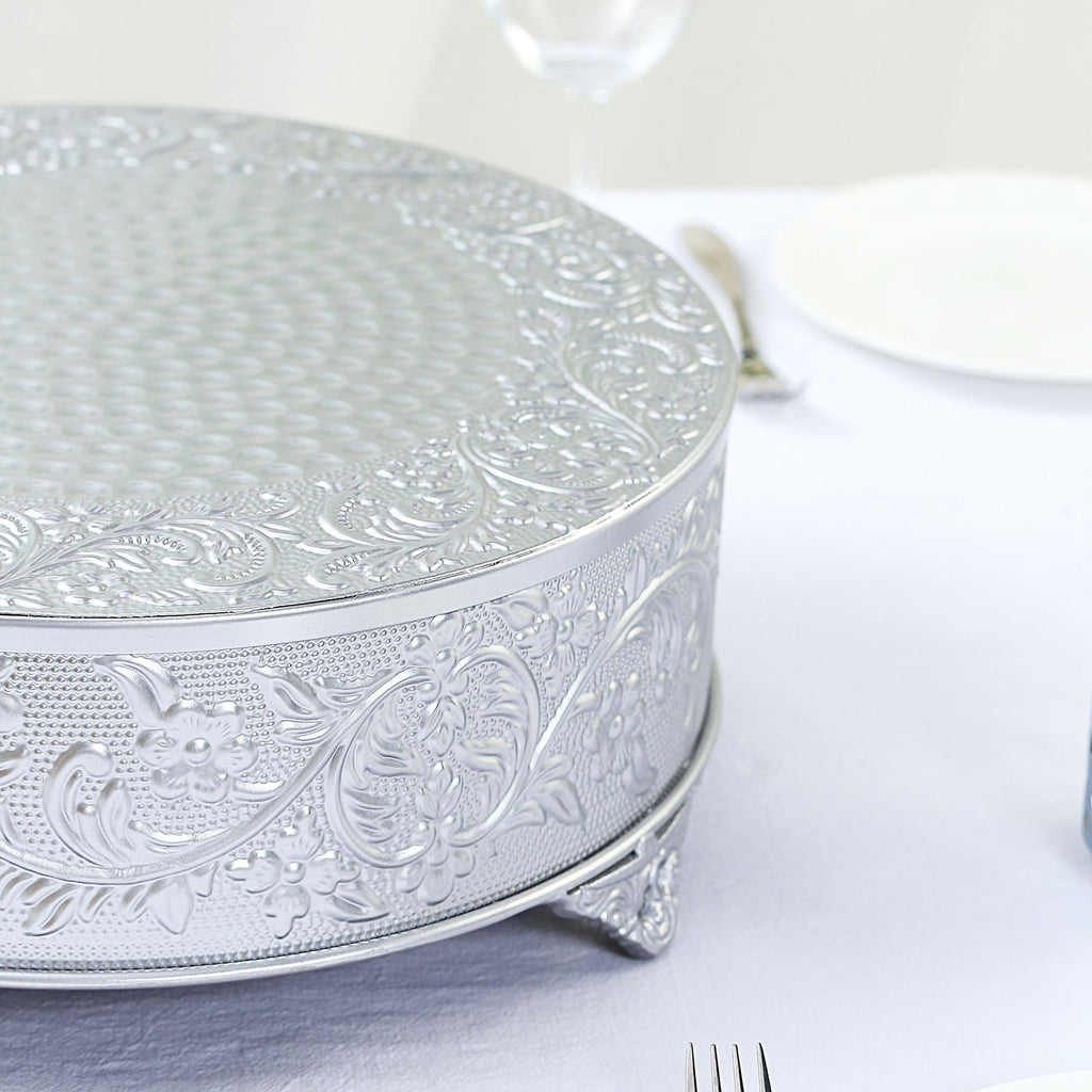 "14"" Silver Embossed Round Cake Plateau, Metal Cake Stand Cake Riser"
