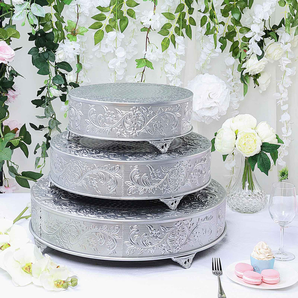 "18"" Silver Embossed Round Cake Plateau, Metal Cake Stand Cake Riser"