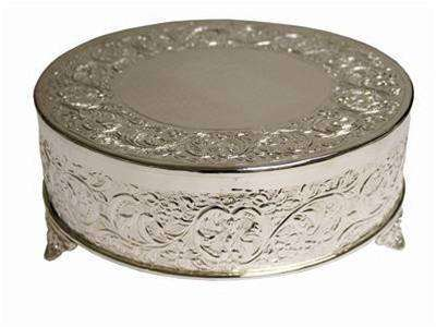 "Embossed Cake Plateau - Silver 14"" Round"