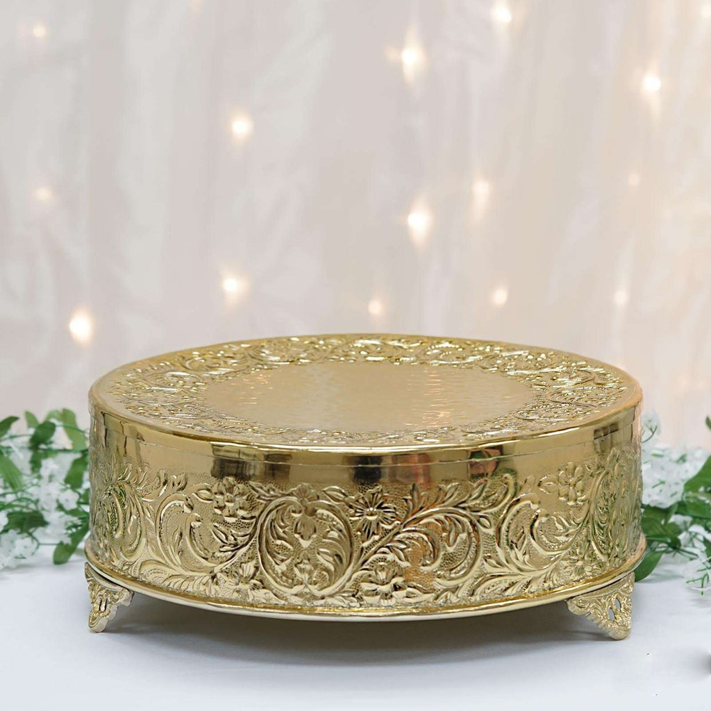 "14"" Gold Round Embossed Metal Cake Plateau Stand Riser Wedding Party Centerpiece"