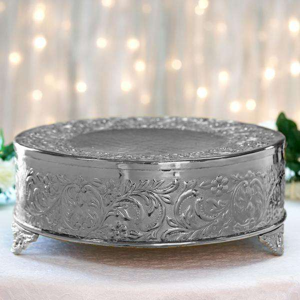 "14"" Silver Round Embossed Metal Cake Plateau Stand Riser Wedding Party Centerpiece"