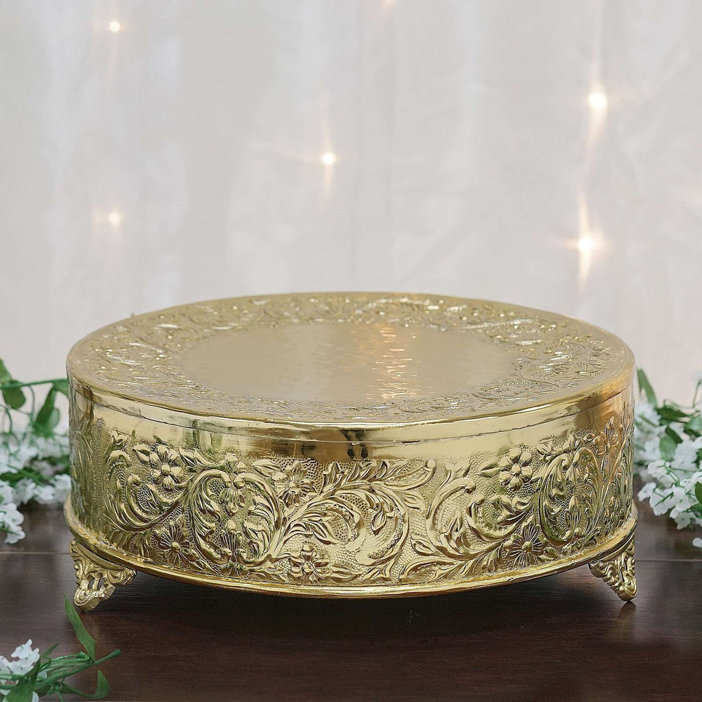 "18"" Gold Round Embossed Metal Cake Plateau Stand Riser Wedding Party Centerpiece"