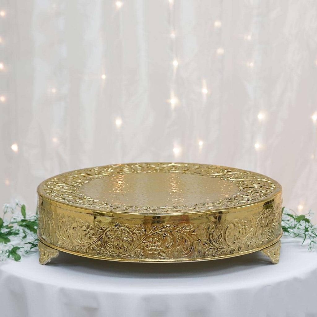 "22"" Gold Round Embossed Metal Cake Stand"
