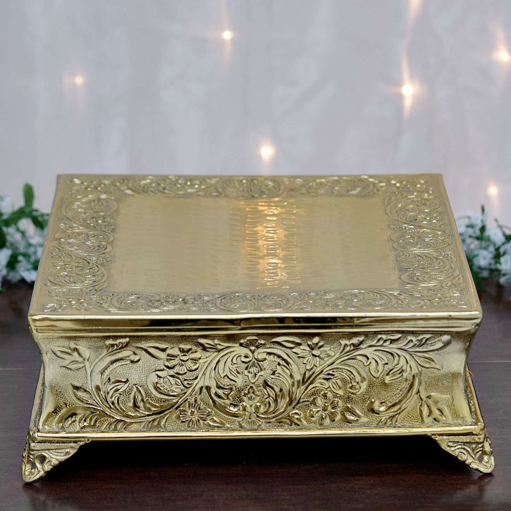 "22"" Gold Square Embossed Metal Cake Plateau Stand Riser Wedding Party Centerpiece"