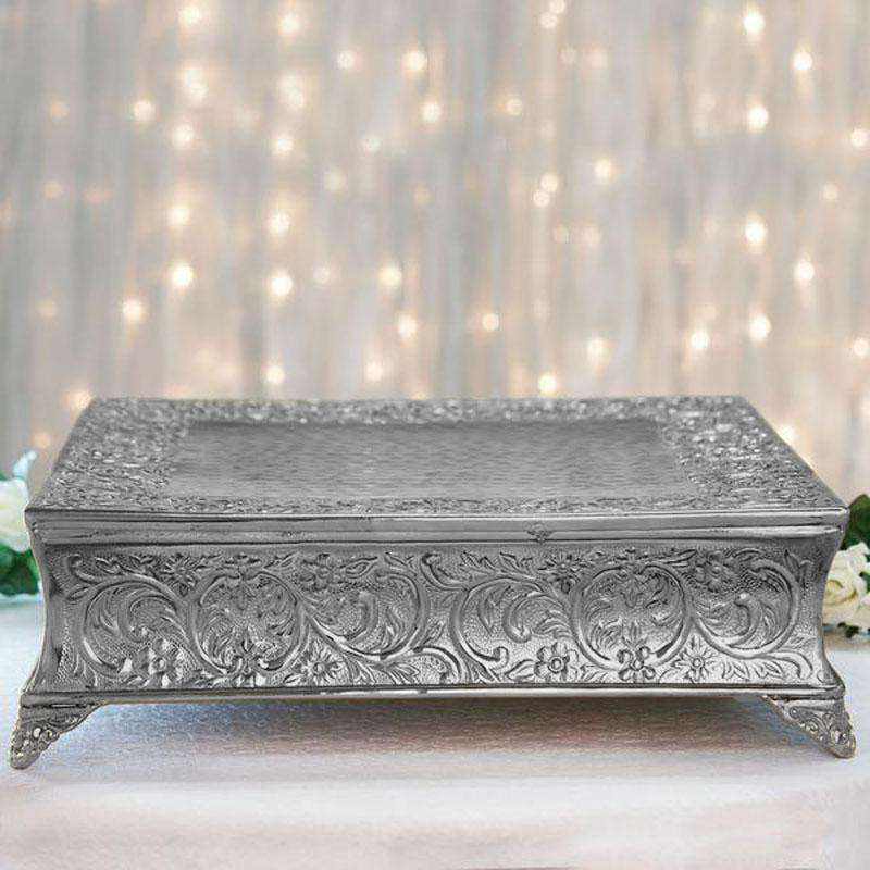 "22"" Silver Square Embossed Metal Cake Plateau Stand Riser Wedding Party Centerpiece"