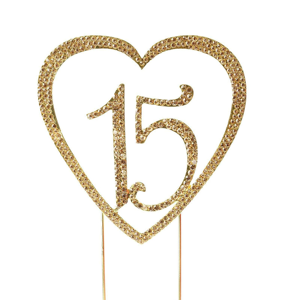 15 Gold Metallic Heart Quinceanera Cake Topper with Rhinestones