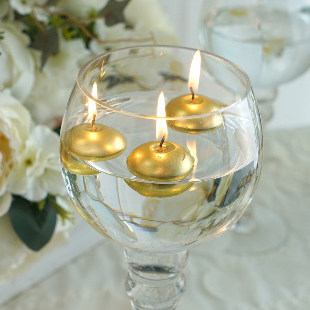 "12 Pack | 1.5"" Gold Mini Disc Floating Candles"