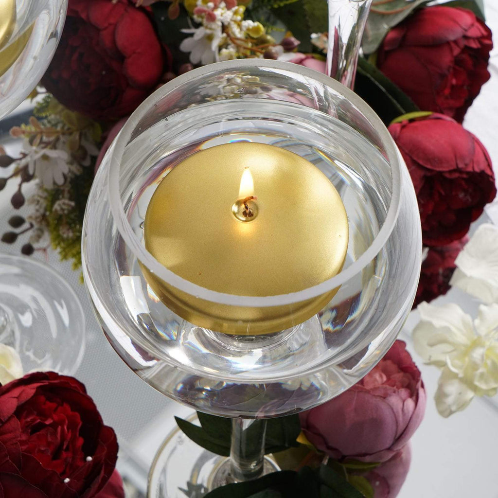 "4 Pack | 3"" Gold Disc Unscented Floating Candles - Long Burn Time"
